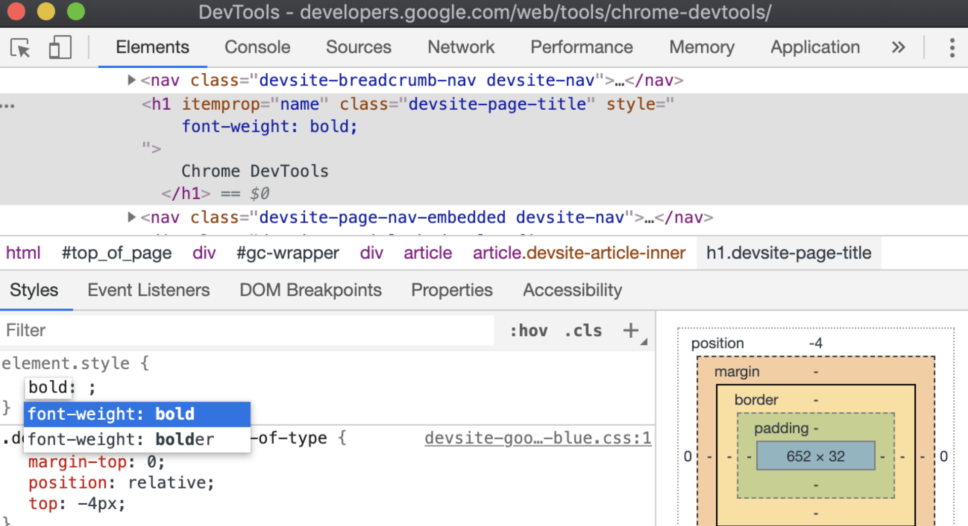 """键入"""" bold""""后,""""样式""""窗格将自动完成为"""" font-weight:bold""""。"""