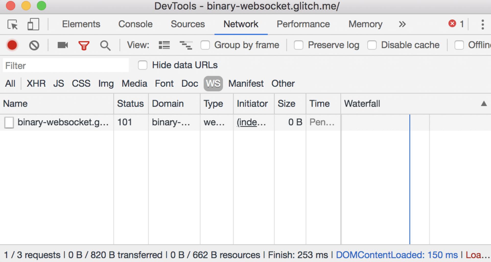 单击WS之后,仅显示WebSockety连接